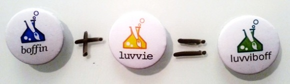 Luvvies and Boffins badges